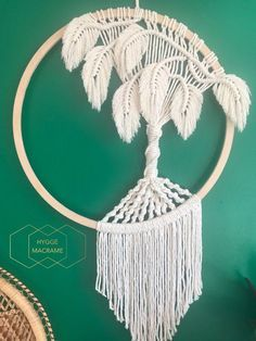 Macrame 'Tree' Dreamcatcher handmade with pine wooden hoop and natural cotton cord. This is a unique macrame tree design with individually combed and trimmed leaves with internal wire, allowing leaves to be moved and turned. Measures approx x This Macrame Wall Hanging Diy, Macrame Plant Hangers, Macrame Art, Macrame Projects, Macrame Knots, Macrame Curtain, Macrame Jewelry, Yarn Wall Art, Micro Macramé