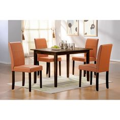 Create a sophisticated and charming eating area with this five-piece oak dining furniture set from Warehouse of Tiffany. The chairs are covered in a neutral toffee-colored bi-cast leather material that will complement many interior design styles.