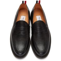 Thom Browne - Black Pebbled Penny Loafers