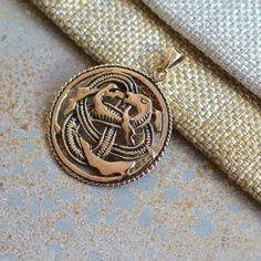 Round Bronze Celtic Knot Pendant with Serpent, Spirit Mind Body, Griffin, Trinity, Infinity, Bronze Celtic Pendants, 30mm, 6mm Teardrop Bail by WanderlustWorldArts on Etsy