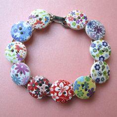 FLOWER PRINT BRACELET.  So perfect for Spring!!  Love it. $14.00.  http://www.etsy.com/listing/126408659/flower-print-bracelet?#