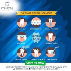 Professional dental clinic in BGC, Taguig City Manila. Affordable dental treatment in BGC Taguig City Manila with complete dental services list & dental surgery Dental Surgery, Dental Implants, Dental Hygienist, Dental Care, Affordable Dental, Smile Makeover, Teeth Braces, Dental Crowns, Dental Services