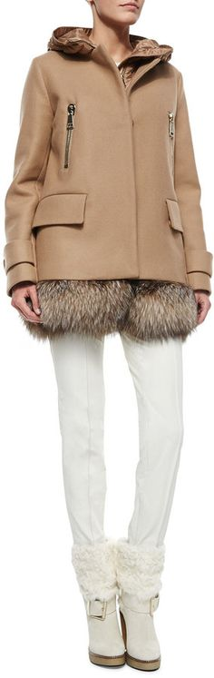 Cream Cable Knit Sweater, Fenelon Two Piece Coat & White Stretch Pants by Moncler at Neiman Marcus. Cape Coat, Stretch Pants, Winter Looks, Cable Knit Sweaters, Winter Wardrobe, Moncler, Designer Collection, Autumn Winter Fashion, Outerwear Jackets