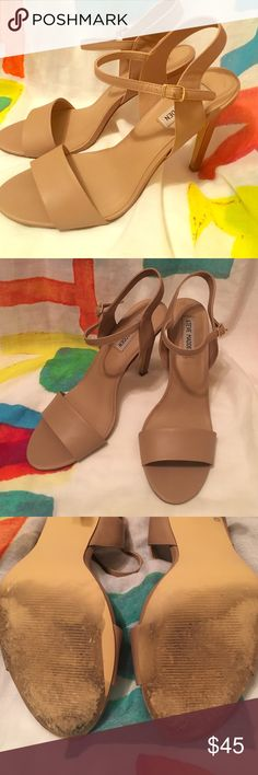 ✨Steve Madden Nude Stilettos✨ chic & classic nude straps stilettos! worn once for a wedding in D.C.! too high for me :) apart from the bottoms these are in MINT condition! 💯 Steve Madden Shoes Heels