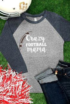 CRAZY FOOTBALL MAMA TRI-BLEND UNISEX 3/4 RAGLAN- S-3X