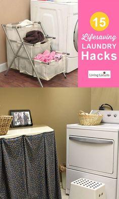 15 Lifesaving Laundry Hacks! So many great time saving tips and ideas.