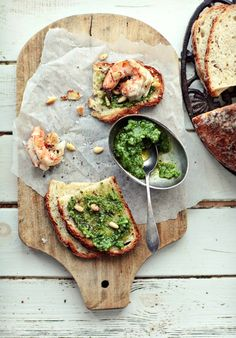 Classic Pesto+ Toast with pesto, shrimp and garlic - this is basically all of my favorite foods combined!