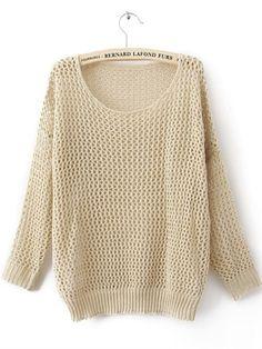 Beige Long Sleeve Open Stitch Sweaters with Metallic Yarn