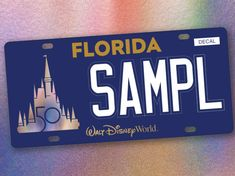 The wait is over, Walt Disney World license plates are finally available for Florida residents. Florida Theme Parks, State Of Florida, Walt Disney Co, Disney Parks, License Plate Designs, Florida Adventures, Cinderella Castle, Sea World