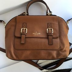 Kate spade tan satchel crossbody Super chic camel colored leather satchel by Kate spade. Use it as a handbag or crossbody. Great condition! Must have staple to go with everything! kate spade Bags Satchels