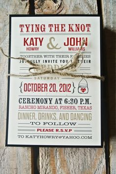 Wedding Invitation: Rustic Tying the knot - Black, Red, and Cream. $2.00, via Etsy.