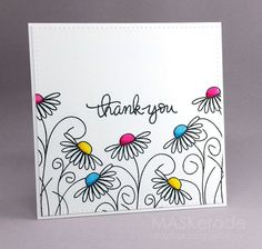 This week's Splitcoaststampers Featured Stamper is Her gallery is full of fun, clever projects and I chose this one as my inspiration: I focsued on Amy's: -outline floral images with colou drawing - Thank You (MASKerade) Tarjetas Diy, Art Carte, Envelope Art, Watercolor Cards, Your Cards, Diy Cards Thank You, Thank You Ideas, Thank You Greeting Cards, Hand Made Greeting Cards