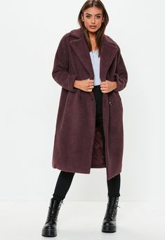 05c37239fb Missguided - Petite Wine Longline Borg Teddy Coat