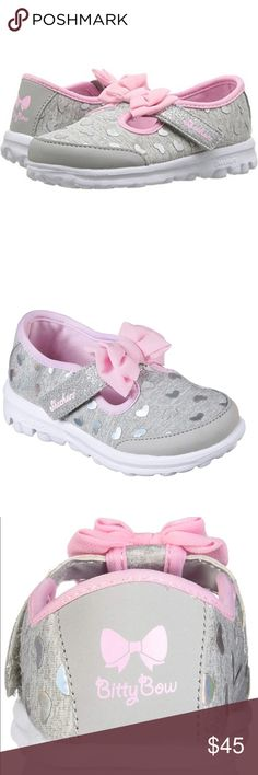 8d9a4a27d399e Sketchers walking shoes with bitty hearts and bow T-strap with hook-and-