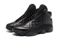 buy online 4ad26 5edaa 2017 Air Jordan 13 Retro All Black Leather Mens Basketball Shoes