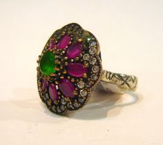 Ruby and Emerald Ottoman silver antique ring