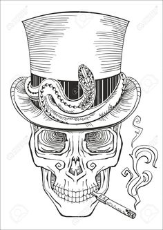 Human Skull In A Top Hat Baron Samedi Royalty Free Cliparts ...