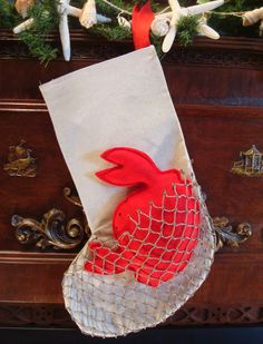 Coastal Nautical Beach Christmas Stocking CRAB IN by StudioTree, $45.00