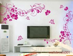 For Ashlyn's Room. Vinyl Wall Decal Wall sticker Flower With Butterfly Decal- 2 sets Beautiful Flower With Butterfly. $88.00, via Etsy.