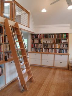 This is what I want: Two story library with loft on one end. Bookshelves on wall perpendicular to loft that reach one full floor or slightly higher, and a rolling ladder to access the high books as well as the loft, by rolling to around a curve to the front edge of the loft. No angled ceiling - full two stories over entire library so above the bookcases I can hang posters.