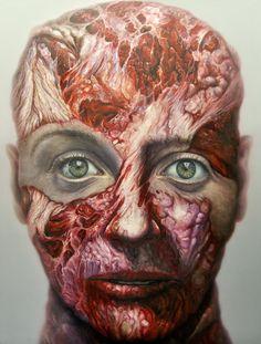 miguel scheroff painting. Meat face, cara de carne, flesh portrair  faces,flesh portrait,mea tportrait,contemporary paint,scheroff. Vanitas, flesh, drawing, oil canvas, meat faces, meat face