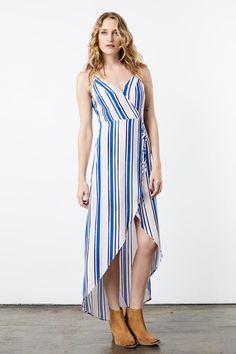 Blue Pinstripe Maxi Wrap Dress