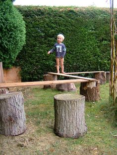 Gross motor fun on a 'plank path'- @Luke Eshleman Hill I want to do things like this in our back yard!