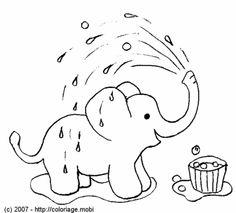 Coloriage - Un éléphant qui prend sa douche !