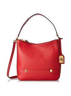 LAUREN Ralph Lauren Women's Morrison Double Zip Hobo, Red