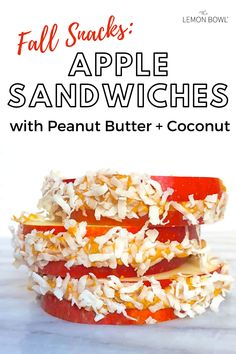 Perfect for lunch boxes or after-school snacking, your kids will love these sweet and crunchy apple sandwiches. Peanut Butter, Apple Sandwich, Lemon Bowl, Fall Snacks, Coconut, Lunch Boxes, Sweet, Sandwiches, Healthy Recipes
