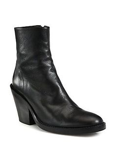 """Ann Demeulemeester Leather Mid-Heel Ankle Boots  A chunky heel raises this leather essential with a side zip closure for additional ease and comfort. Stacked heel, 3"""" (75mm) Leather upper Side zip Leather lining and sole Padded insole Made in Italy"""