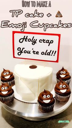 "to make a TP cake and poop emoji cupcakes! ""Holy crap you're old"" topper is SO perfect on the toilet paper cake!How to make a TP cake and poop emoji cupcakes! ""Holy crap you're old"" topper is SO perfect on the toilet paper cake! Birthday Cake For Him, Funny Birthday Cakes, Funny Cake, Mens 50th Birthday Cakes, 50th Birthday Cupcakes, Funny Cupcakes, Cupcakes For Men, Birthday Jokes, Birthday Gag Gifts"