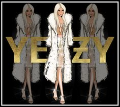 Fashion illustration of Kim Kardashian wearing Yeezy and Balmain. Digital art created by Nelle illustrations