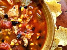 Fiesta Chicken Soup This will quickly become a favorite in your house. It's an easy delicious dinner your whole family will love! Topped with shredded cheese and a dollop of sour cream, served with tortilla chips. Dinner is served!