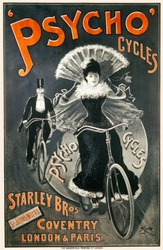 Psycho Cycles by Moore 1898 England - Vintage Poster Reproduction. This vertical English transportation poster features a black and white images of a couple on bicycles wearing a top hat and formal dress. Giclee Advertising Print. Classic Posters