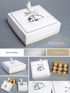Stampin Up! by Djudi Scrap - Tutoriel Bote Ferrero Rocher Framelits Joyeuses Etiquettes / Merry Tags Framelits Dies 3d Christmas, Stampin Up Christmas, 3d Paper Crafts, Cardboard Crafts, Pretty Packaging, Craft Box, Stamping Up, Xmas Cards, Homemade Cards
