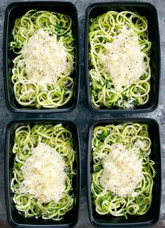 Zucchini noodles are tossed in a skinny and lightened up version of Alfredo sauce for an easy meal that can be made ahead of time for your weekly meal prep.