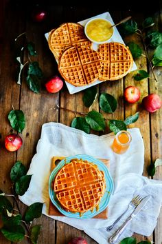 apple cider waffles with salted caramel drizzle — the farmer's daughter