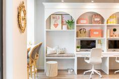 The JHD Office Reveal You Have Been Waiting for is Finally Here! Hickory Wood, Panel Moulding, Studio Kitchen, White Countertops, Built Ins, Second Floor, Bookcase, Wall Decor, Jillian Harris