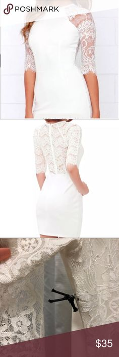 NWT Lulu's lovely white lace dress Beautiful white dress with lace sleeves and back. Size medium but runs a little bigger. More like a size 8 Lulu's Dresses Midi