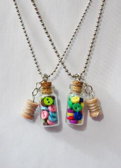 26 inch Tiny Bottle of Buttons Necklace with Spool Charm Primary Colors or Spring Colors by Rainbow Moon Shop on Etsy