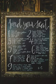 """find your seat"" chalkboard 