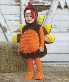 baby turkey costume - Let's all give thanks for this little costume -- kids look completely adorable in it! The plush bubble-shaped bodysuit has an attached tail that fans out.