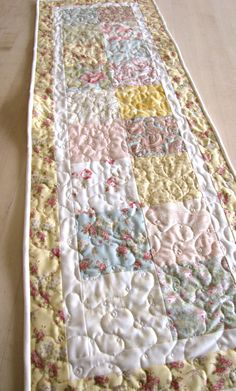 """shabby chic decor, quilted table runner, french country home, featuring """"Paris Flea Market"""" by Moda. $50.00, via Etsy."""
