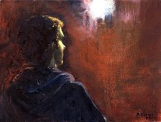 Πορτραίτο στο φως  Νο 1 / Portrait under the light No 1  λάδι σε καμβά /  oil on canvas 32.0*24.0*3.0 cm