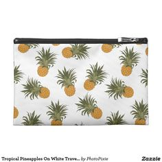 Tropical Pineapples On White Travel Accessory Bag