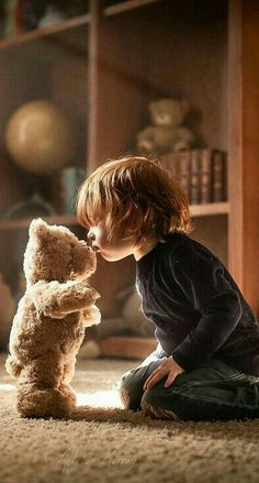 Child kissing Teddy bear... #teddybear #childhood #kissing
