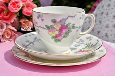Old Royal vintage china hand painted floral teacup trio