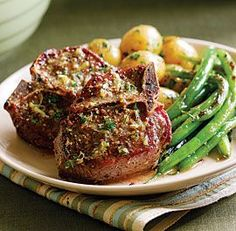 Lamb Chops with Lemon, Thyme & Mustard Butter Recipe. I'd put this in a cast iron  skillet though! **