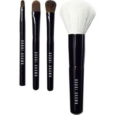 BOBBI BROWN Mini Brush Set ($91) ❤ liked on Polyvore featuring beauty products, makeup, makeup tools, makeup brushes, eyeshadow brush, gel eyeliner, shadow brush, bobbi brown cosmetics and gel eye liner